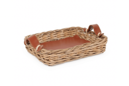 King-Wicker Serving Tray With Leather Handle 01