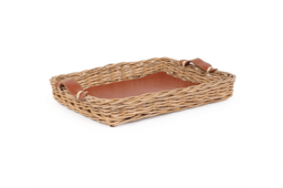 King-Wicker Serving Tray With Leather Handle 02