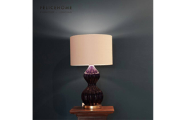 Blue Glossy Peanut Accent Lamp